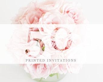 50 Premium Printed Invitations | White Envelopes