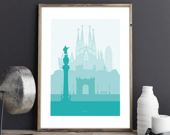 Barcelona wall art printable, travel gift, home decor, minimal Barcelona skyline printable, turquoise artwork, Sagrada Familia minimalist