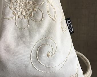 Feminine Backpack - Winter White Drawstring Backpack - Small Cinch Sack - Drawstring Purse - Wedding Backpack Purse - OCDrawstrings - OCD