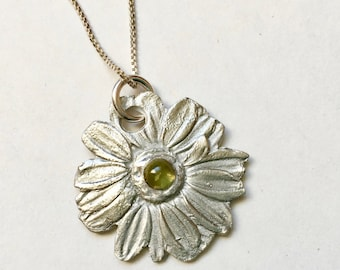 new flower pendant with peridot, sterling
