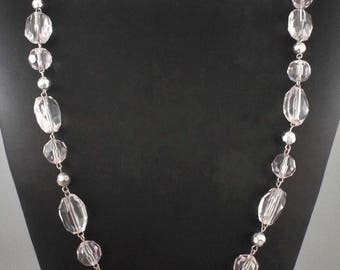 1970s Long Vintage Clear Facetted Lucite & Silver Tone Beads Necklace