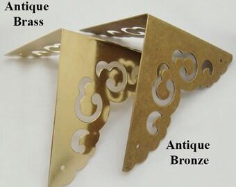Furniture Decorative Jewelry Box Case Table Decor Triangle Corner Protector Vintage Antique Bronze/Brass Tone Brass 65x52mm