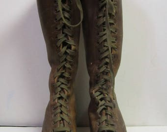 Vintage Women's Brown Leather Lace Up Boots Wood Heel Tall