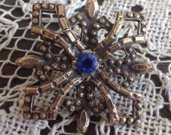 COBALT Blue Rhinestone Brooch~ Vintage Pin ~ COBALT GLASS