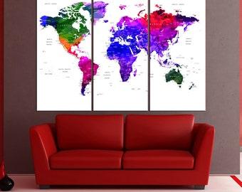 Colorful world map canvas print Push Pin travel map, large world map wall art push pin ready to hang for large wall No:6S19