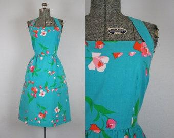 1970's Blue and Pink Floral Print Malia Sun Dress / Size Medium