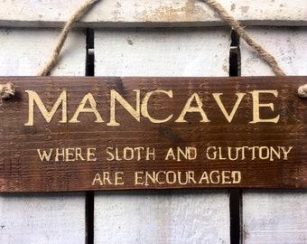Man Cave. Gift for Men. Mens Gift. Gift for Him. Mens Birthday Gift. Mancave. Rustic Sign. Boyfriend Gift. Funny Gift For Men. Bar Sign.