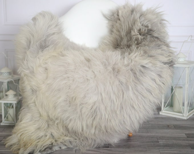 Sheepskin Rug | Real Sheepskin Rug | Shaggy Rug | Chair Cover | Sheepskin Throw | Beige Gray Sheepskin | Home Decor | #HERMAJ73