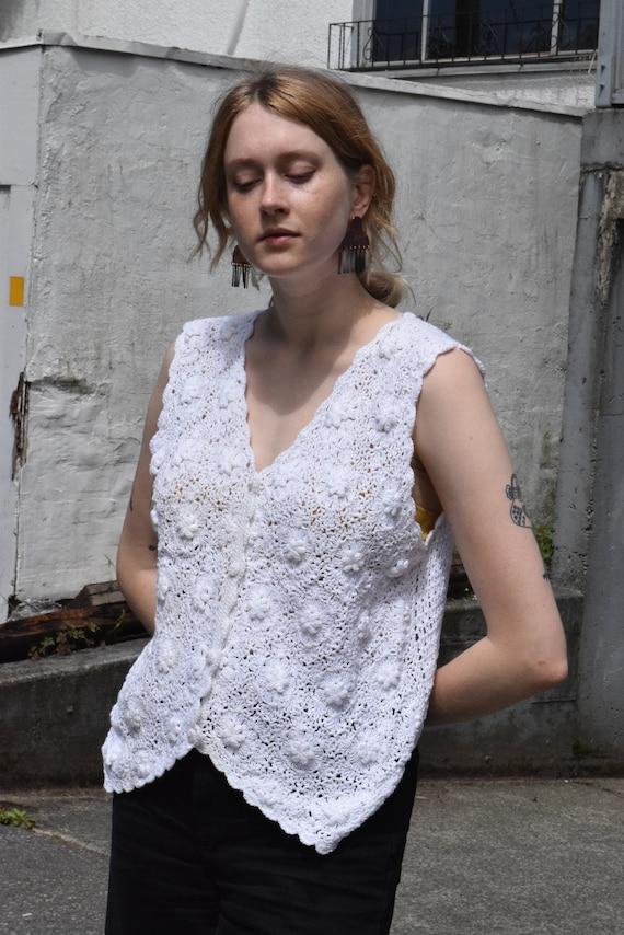 White Cotton Crochet Sleeveless Button Up Blouse