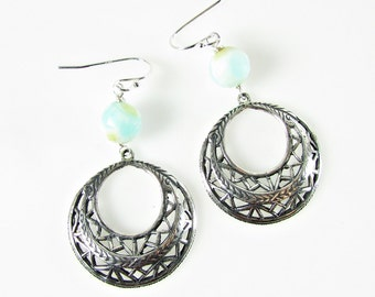 Silver Filigree Hoop Earrings, Light Blue Peruvian Opal, Gemstone Jewelry
