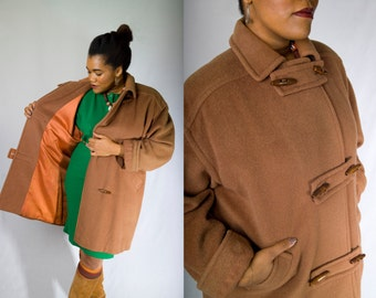 Vintage 80's LARRY LEVINE Deep Camel Brown Midi Wool Double Breasted Toggle Button Plus Size Pea Coat (sz 14 16 18 XL xxL)