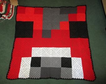 Mooshoom, Minecraft, cow, block, blockhead, blanket, throw, afghan