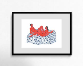 Couple on a bed, original drawing