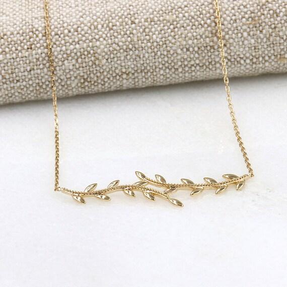 women necklace plated gold Laurel leaf