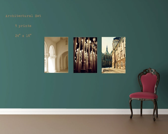 Architectural Print Set of 3 Photographs For Your Wanderlust Wall Decor - available in 4 sizes