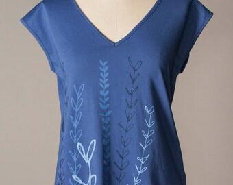 women's shirt, cotton tee, blue cotton top, v-neck top