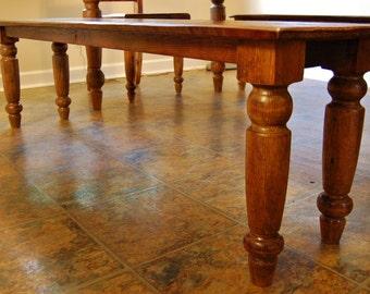 Relaimed Wood Hand Turned Leg dining Bench