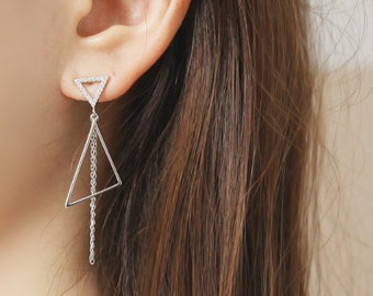 Triangle Long Chin Earring,Long Drop Earrings.