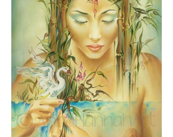 chinese beautiful woman nude erotic female long hair bamboo swan water magical realism giclee fine art print giclee oil painting nature akt