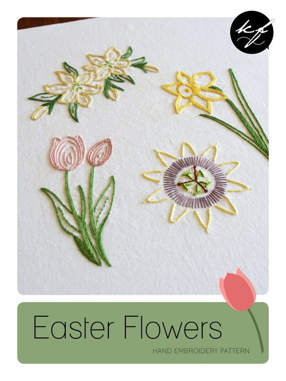 Easter Flowers Hand Embroidery Pattern Modern Embroidery Easter