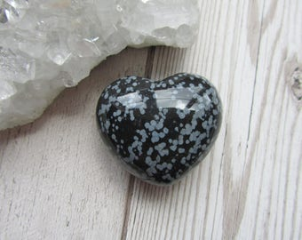 45mm Snowflake Obsidian Puffy Gemstone Heart Carving, Carved, Gift Polished Stone