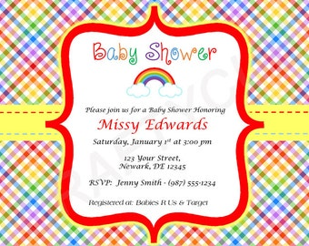 Rainbow Baby Shower Invitation, Rainbow Baby Shower Invite, Rainbow Invitation Printable