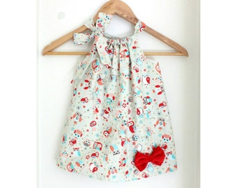 Owl Bow Baby Dress, girl dress, baby clothes, bow baby, baby girl dress,  kids clothes, Owl bow baby dress