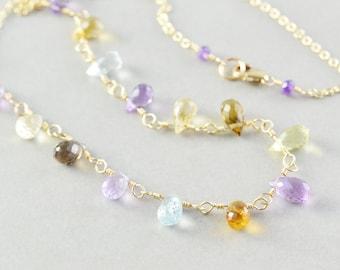 Gemstone Drop Necklace, Multi Colored Necklace, Birthstone Necklace, Handmade