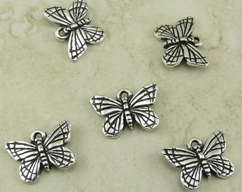 5 TierraCast Monarch Butterfly Charms > Fine silver plated lead free pewter - I ship Internationally 2122