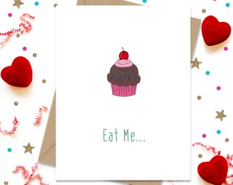 Eat Me Cupcake, Funny Anniversary, Greeting Card, Funny Birthday Card, Cards for her, Cards for Him, I Love You Card, Cupcake Card