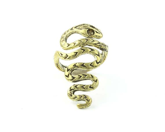 Brass Snake Ring, Serpent Ring, Gold Tone Snake Ring, Spiritual, Boho, Gypsy Ring, Festival jewelry