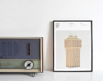 Graphic poster printed architecture theme - torre velasca Milano