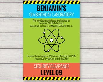 Science Invitation PRINTABLE Mad Scientist Birthday Party Invitation INSTANT DOWNLOAD with Editable Text