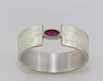 Silver ring with Marquise cut Ruby