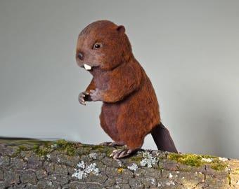 OOAK Needle felted beaver 12.2in