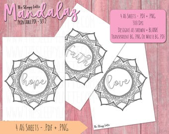 Printable PDF - Hope, Faith, and Love Mandalas