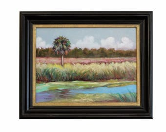 ORIGINAL OIL PAINTING 12x16 Florida Landscape Marsh Framed Art Impressionism