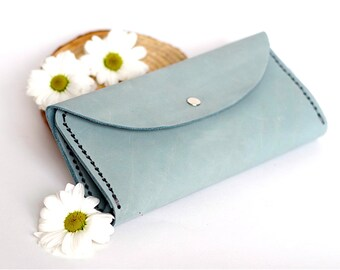 Mint leather wallet, Wallet leather, Women wallet, Leather wallets, Womens wallet, Leather purse, Minimal wallet, Wallets for women, Purse