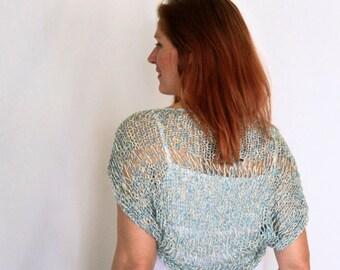 Sea foam shrug, summer wear, Ariane, handmade loose knit shrug