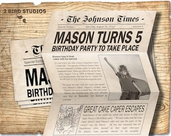 Superhero Invitation / Superhero birthday invite - DIY superhero birthday party printable invitation - superhero newspaper