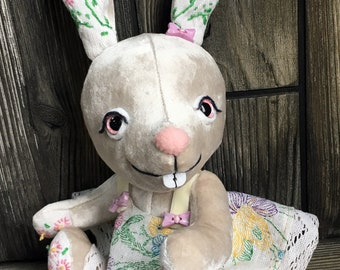 """10"""" white rabbit plush collectible bunny in vintage fabric by Karen Knapp of Tindle Bears"""