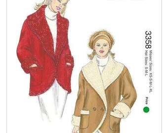 Kwik Sew 3358 Misses' Wide Shawl Collar Jacket and Beret XS-XL New in Envelope