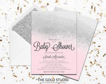 Pink & Silver Glitter Baby shower Invitation | Modern Glamorous Blush Pink Shower Invitation | Elegant Feminine Baby Girl Shower Invite