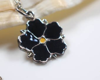 Black Enamel Small Flower Pendant on Silver 925 Stamped Chain Necklace