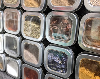 Magnetic Spice Tins [Custom Labels, Square, 4oz, Strong Magnet] Sticks to fridge & space saver. Packaged ready for gifting!