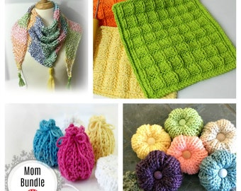 Loom Knitting Mothers Day Patterns - Bundle of Four (4) Shawl, Washcloth, Buffy Flower, Sachet Gift Bags Loomahat