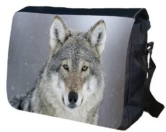 Wolf personalisiert Messenger Umhängetasche
