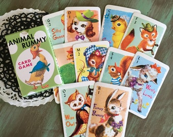Children's Cards / 45 Animal Rummy Cards for Altered Arts, Mixed Media, Collage, Journals, etc.