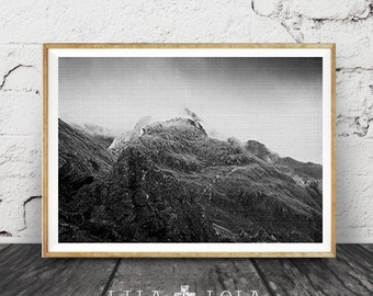 Black and White Photography Print, Mountains, Scandinavian Print, Nordic Art, Modern Minimalist, Black and White Landscape, Misty Foggy