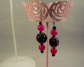 Bright Pink & Black Dotted Earrings